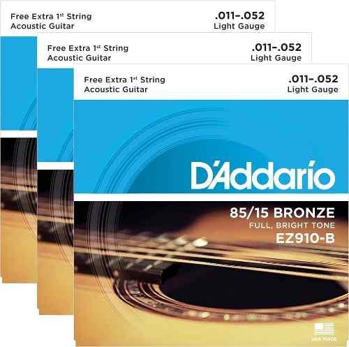 Kit 3sets Encordoamento Violão Aço D'addario 011/52 Ez 910b