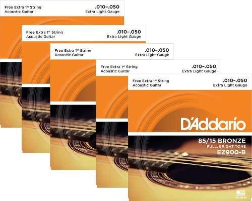 Kit 5sets Encordoamento Violão Aço D'addario 010/050 Ez 900