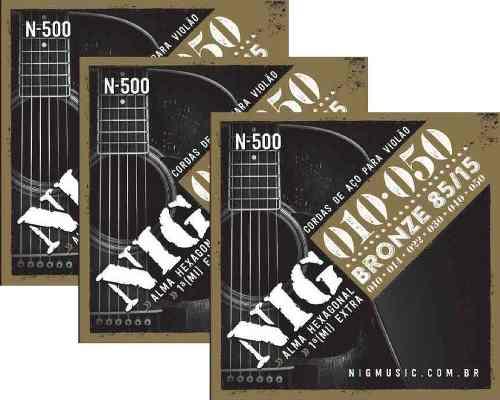 Kit 3sets Encordoamento Violão Nig 010/50 Aço N-500