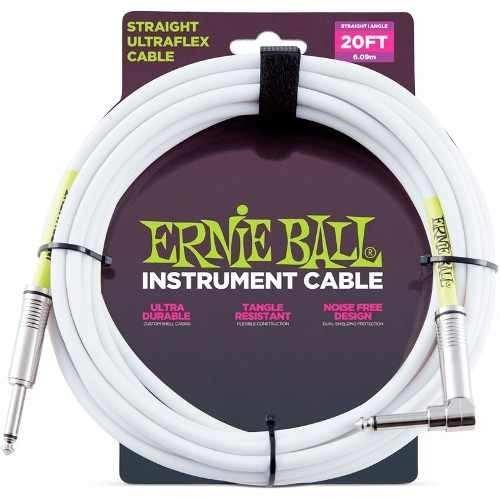 Cabo Ernie Ball Instrumentos 6,09m P10xp90 Branco