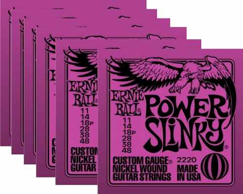 Kit 6jg Encordoamento Guitarra Ernie Ball 11/48 Power Slinky