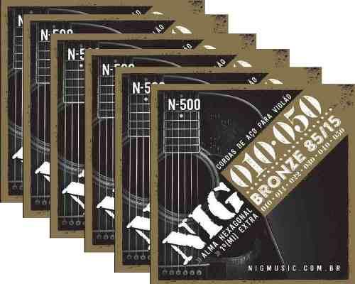 Kit 6sets Encordoamento Violão Nig 010/50 Aço N-500
