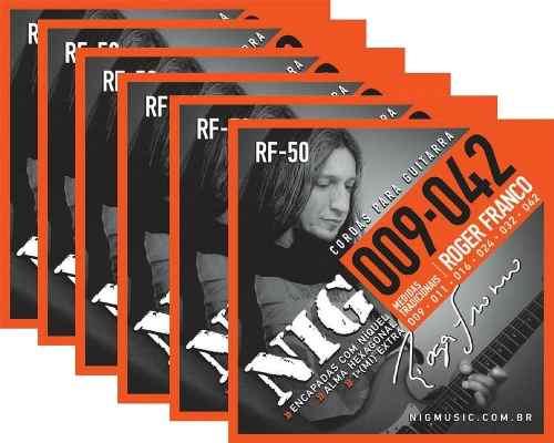 Kit 6sets Encordoamento Guitarra 009/042 Nig Roger Franco!