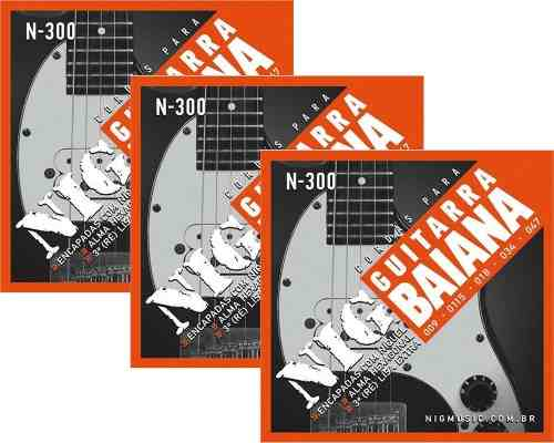 Kit 3sets Encordoamento Guitarra Baiana 009/047 Nig