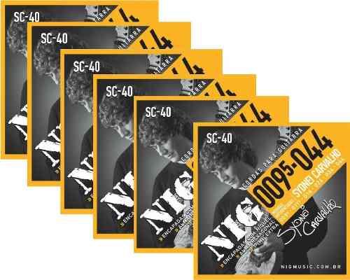 Kit 6sets Encordoamento Guitarra 095/044 Nig Sydnei Carvalho