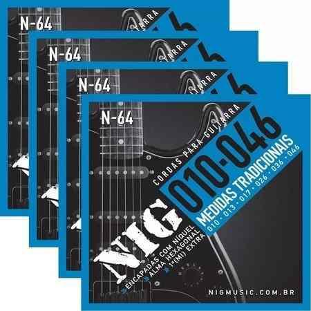 Kit 4sets Encordoamento Guitarra 010/046 Nig