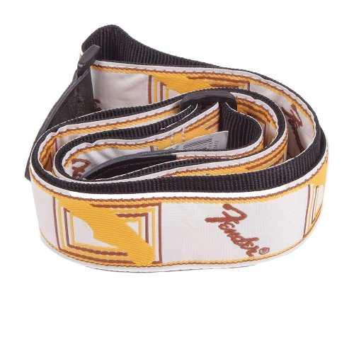 Correia Fender Monograma Branca Logo Marron/amarelo