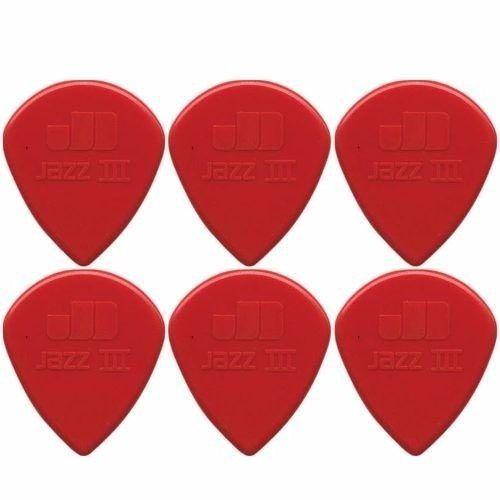 Kit Pacote 6 pçs Palheta Dunlop Jazz III Vermelha