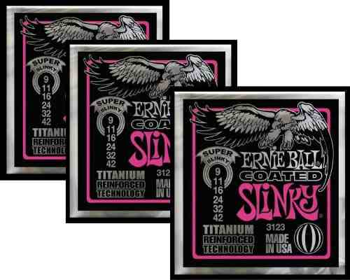 Kit 3sets Encordoamento Guitarra Ernie Ball 009/42 Coated