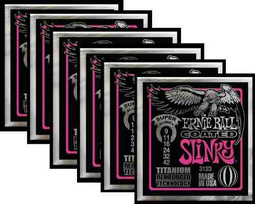Kit 6sets Encordoamento Guitarra Ernie Ball 009/42 Coated
