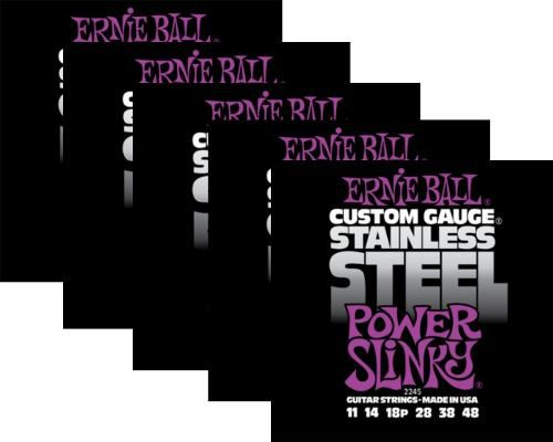 Kit 5sets Encordoamento Guitarra Ernie Ball 011/48 Stainless