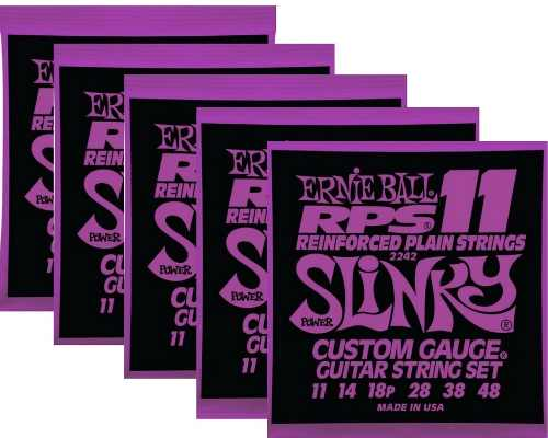 Kit 5sets Encordoamento Guitarra Ernie Ball 11/48 Slinky Rps