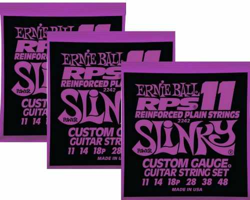 Kit 3sets Encordoamento Guitarra Ernie Ball 11/48 Slinky Rps