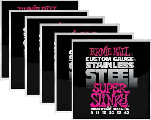 Kit 6sets Encordoamento Guitarra Ernie Ball 009/42 Stainless