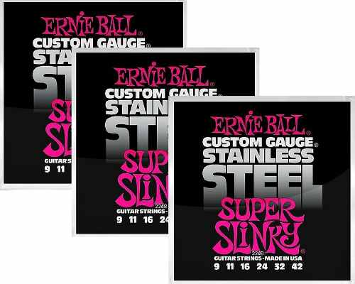 Kit 3sets Encordoamento Guitarra Ernie Ball 009/42 Stainless