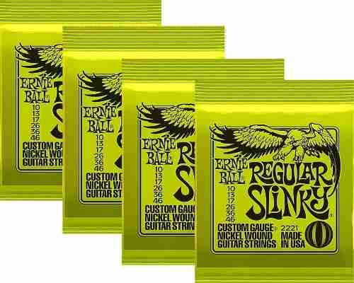 Kit 4jgs Encordoamentos Guitarra Ernie Ball 10/46 Slinky
