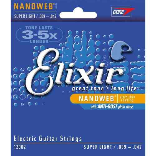 Kit 2jgs Encordoamento Guitarra Elixir .009/042 Nanoweb