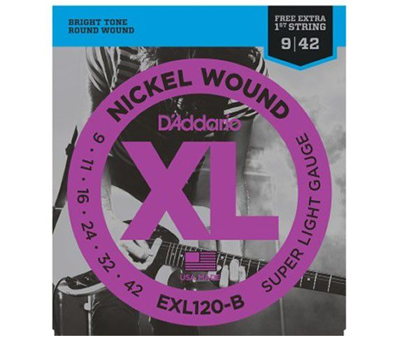 Kit 2sets Encordoamento Guitarra D'addario Exl120b+Nyxl0942 + 10palhetas