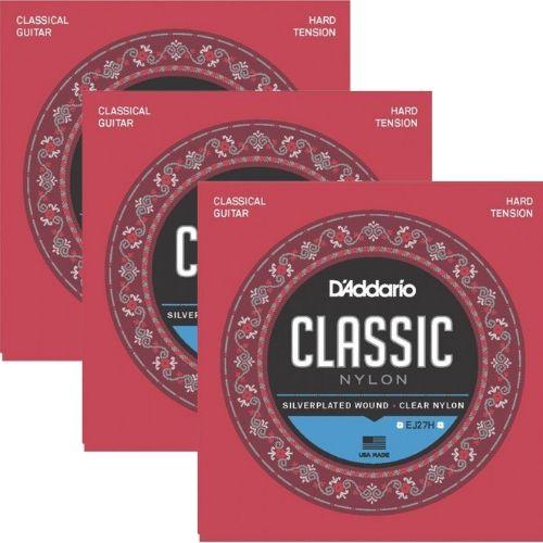 Kit 3sets Encordoamento D'addario Classic Nylon Tensao Alta Ej27H