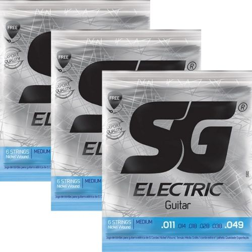Kit 3sets Encordoamento Guitarra 011/049 Sg + Brindes