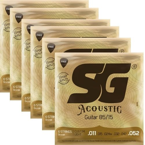 Kit 6sets Encordoamento Violão SG 011-052 Bronze 85/15 Custom Light