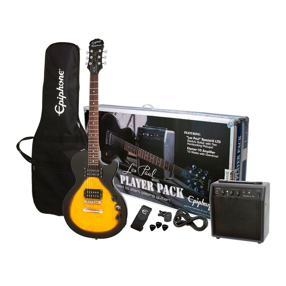 Kit Guitarra Epiphone Les Paul Player Pack Vintage Sunburst