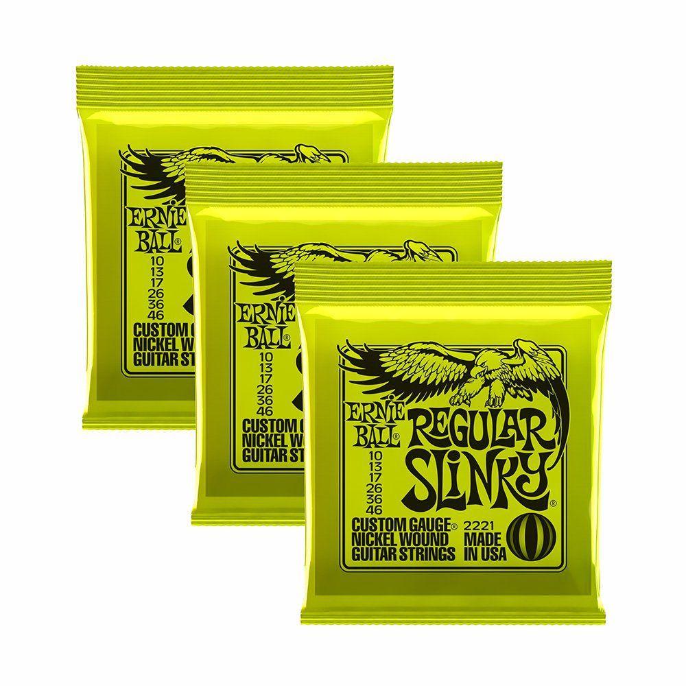 Pack 3 Encordoamentos Ernie Ball Slink 010-046 Guitarra 3221