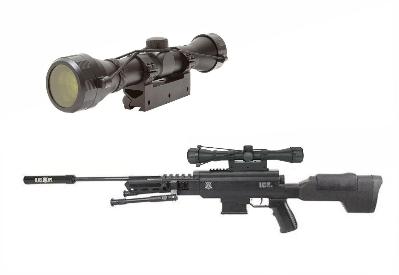 Carabina de pressão Black Ops Sniper 5,5 GR 60kg + luneta 4x32 mount unico + Bipé