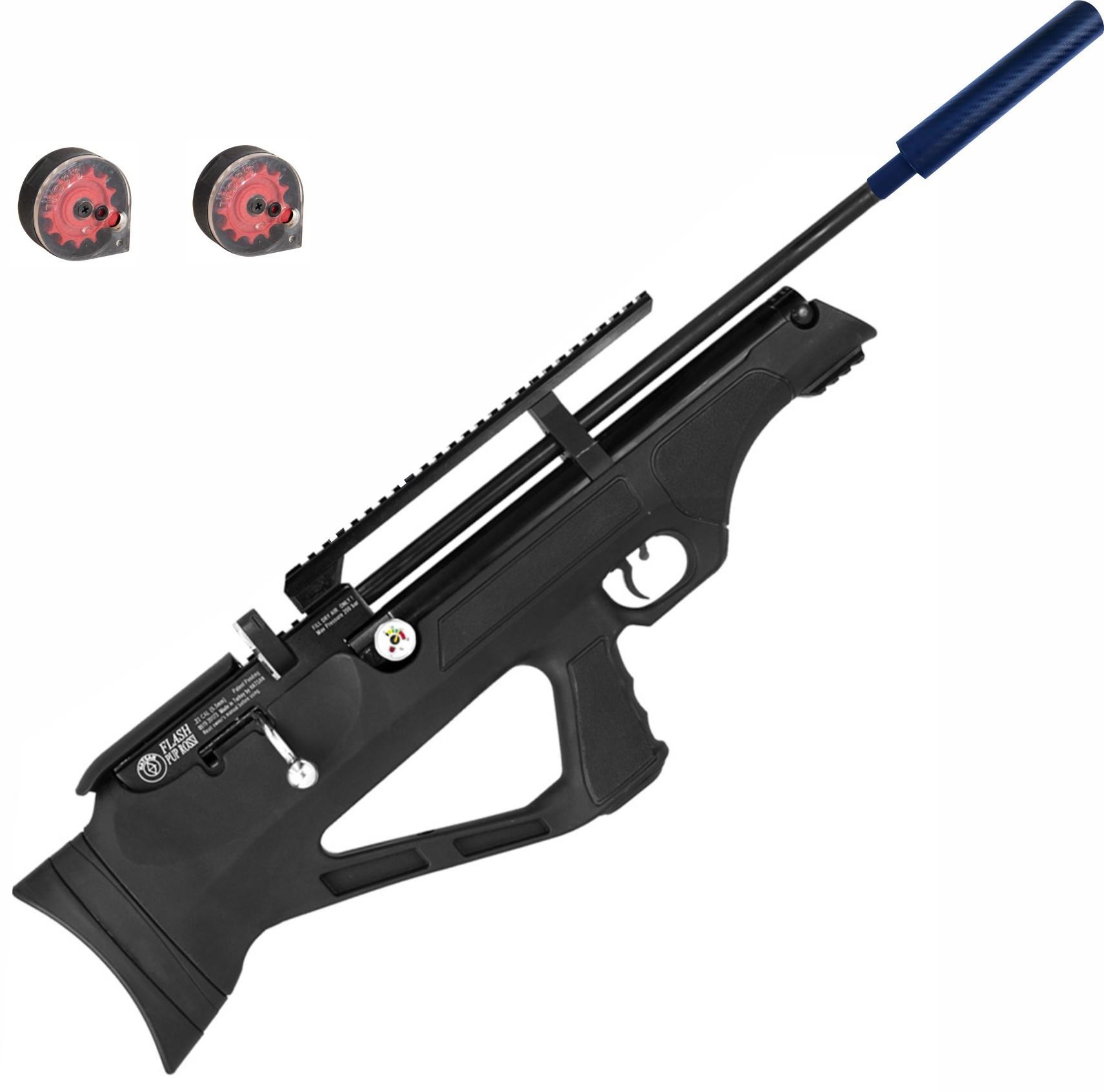Carabina de Pressão Hatsan PCP Bullpup Flashpup 12 tiros Polimero 5,5mm com supressor