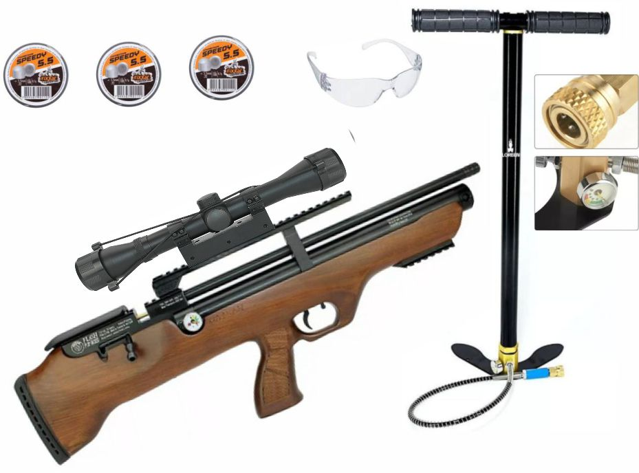 Carabina Hatsan PCP Flashpup 12 tiros 5.5mm + Bomba Artemis  + Luneta 4x32 mount unico