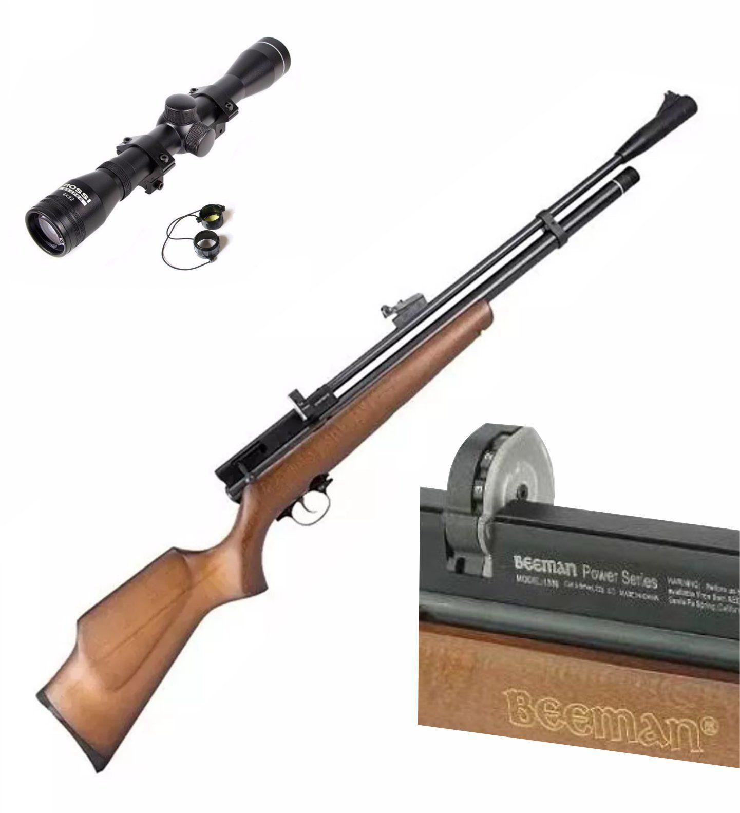 Carabina PCP Beeman 1338 QB II PLUS  10 tiros 5,5mm + Luneta 4x32 Rossi