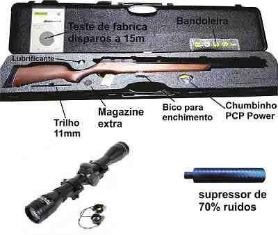Nova Carabina PCP R8 Rossi 5,5mm  + supressor + luneta rossi 4x32