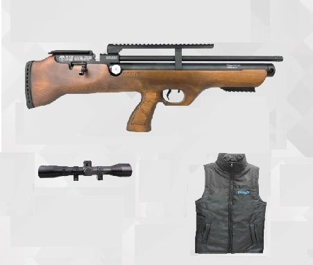 Carabina Pressão Hatsan PCP Bullpup Flashpup 12 tiros 5.5mm + Colete Walter + Luneta 4x32