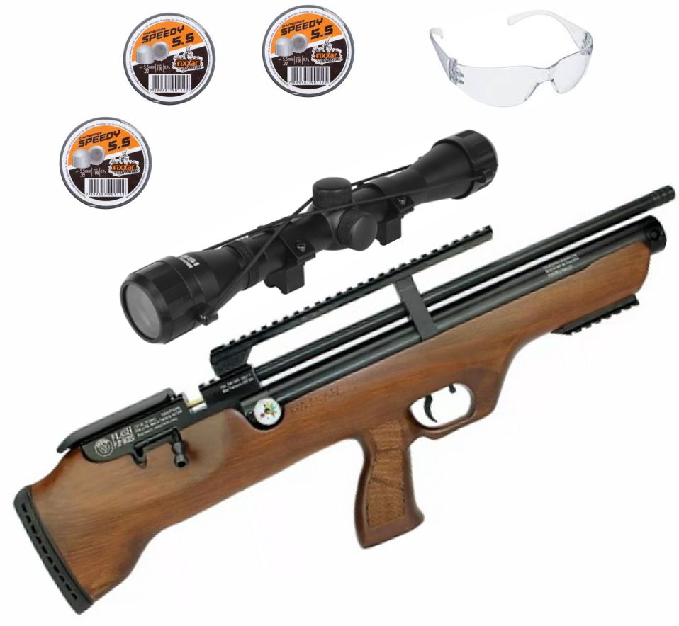 Carabina Pressão Hatsan PCP Bullpup Flashpup 12 tiros 5.5mm + Luneta 4x32 Rossi