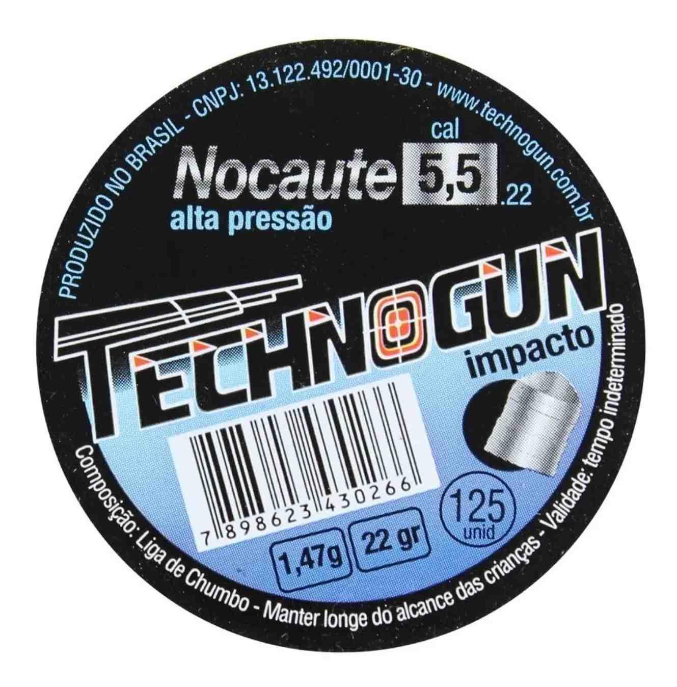 Chumbinho Nokaute Tecnogum 5.5mm - 250 und