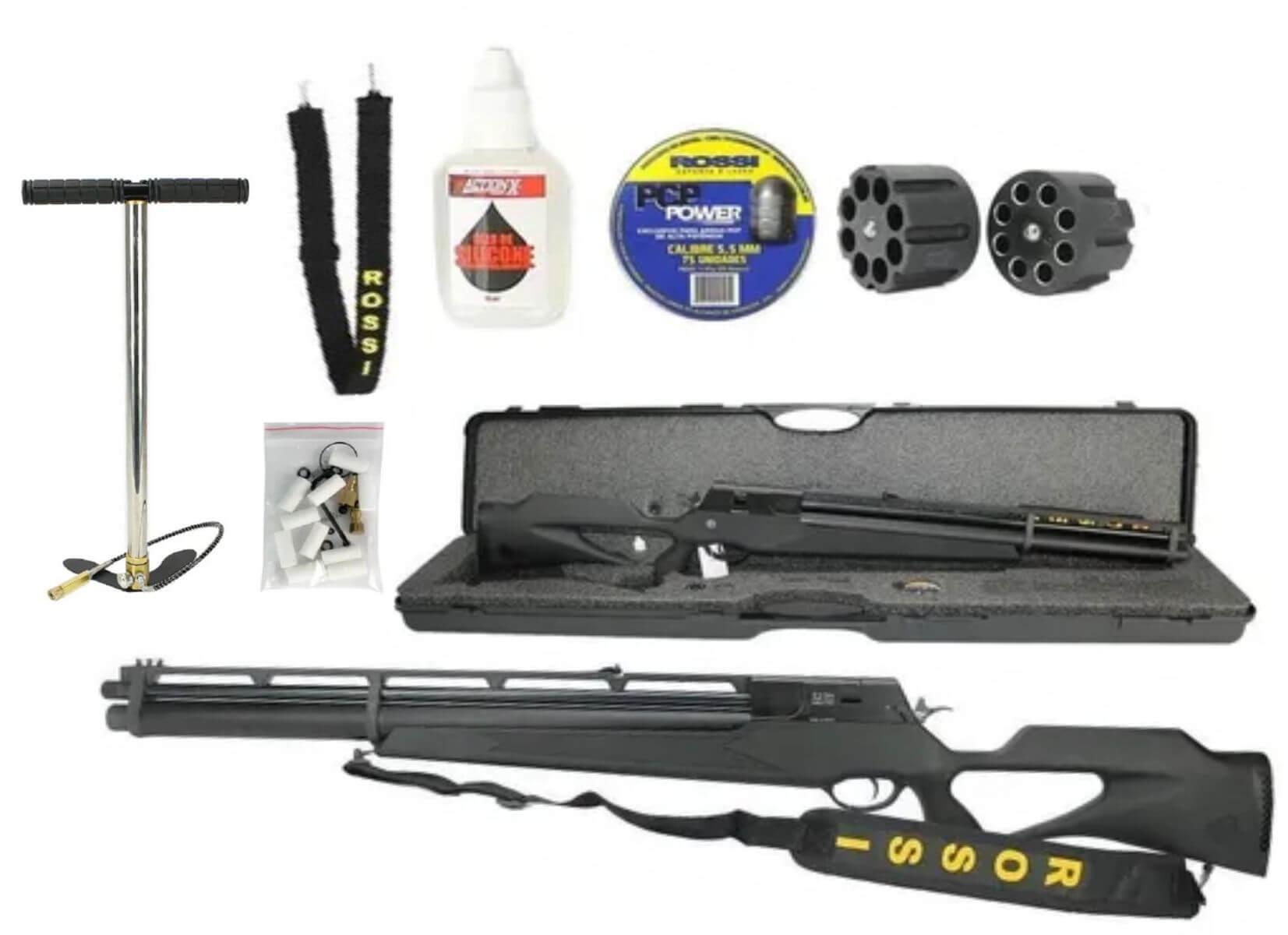 Combo Carabina PCP R8 Black Rossi Semiautomatica 5,5mm e Bomba