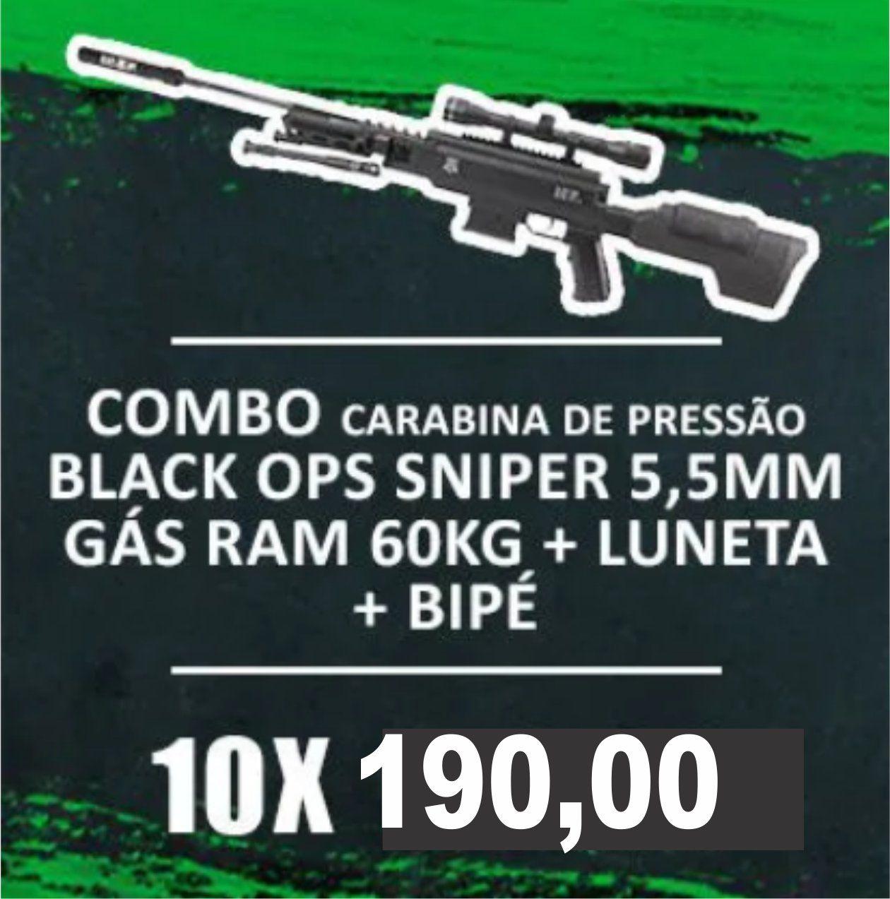 Consórcio - Carabina de pressão Black Ops Sniper 5,5 GÁS RAM 60kg + luneta + Bipé