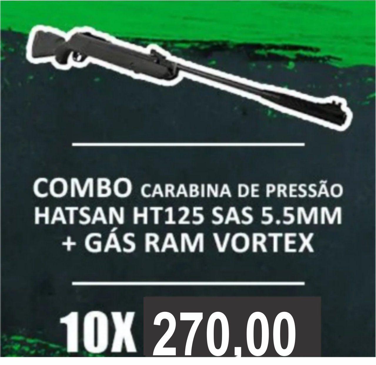 Consórcio - Carabina de Pressão Hatsan HT125 SAS 5.5mm com Gás Ram Vortex