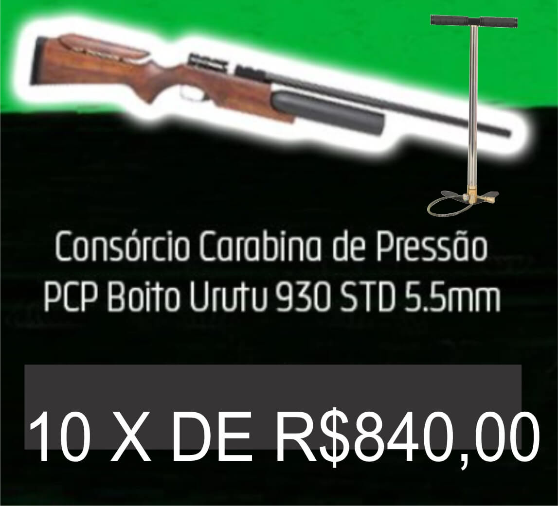 Consórcio - Carabina de Pressão PCP Boito Urutu 930 STD 5.5mm e Bomba PCP 10X