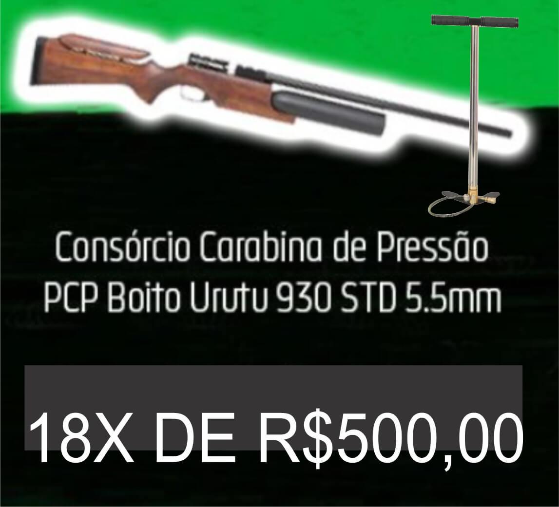 Consórcio - Carabina de Pressão PCP Boito Urutu 930 STD 5.5mm e Bomba PCP 18X