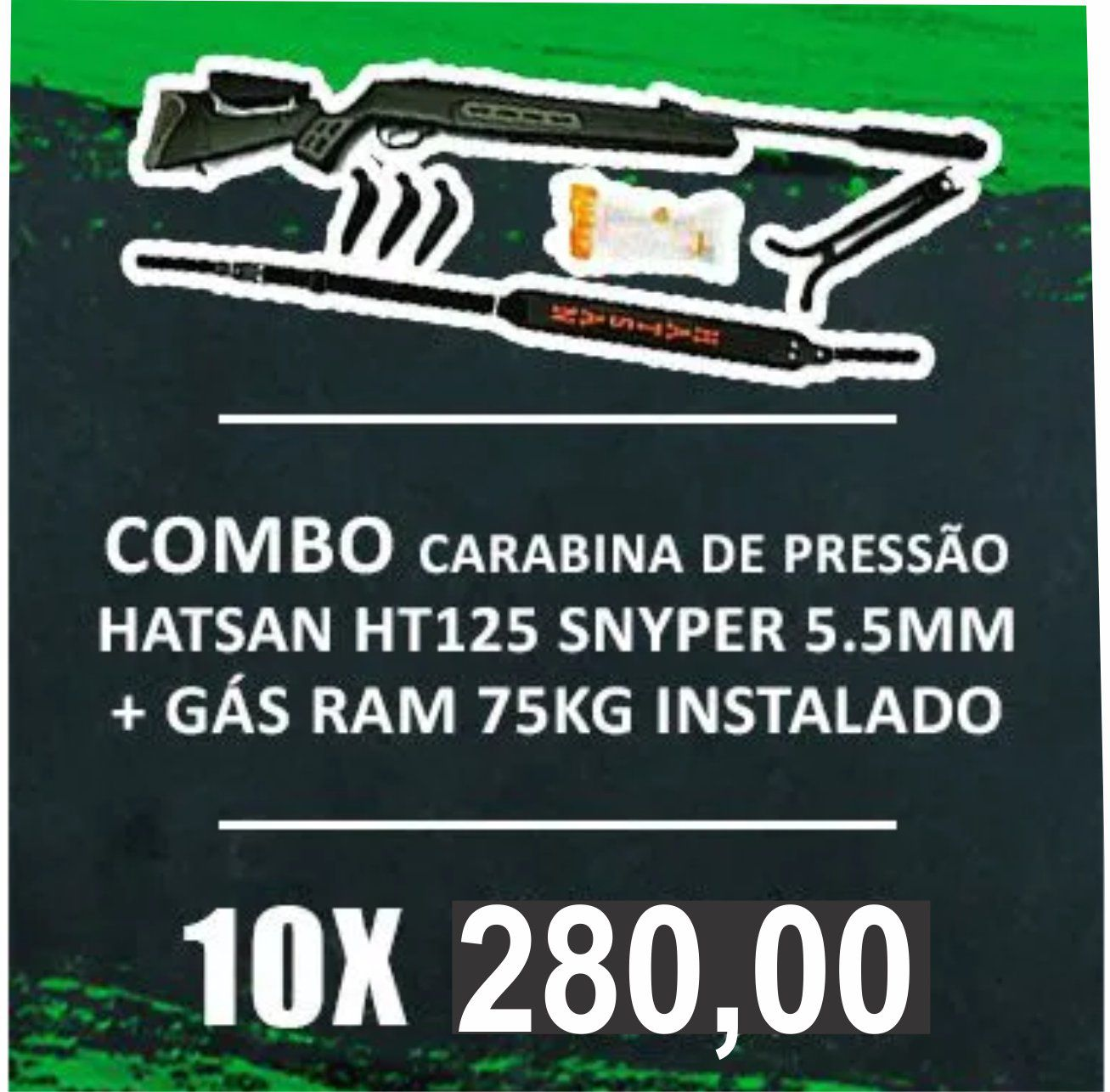 Consórcio - Carabina Hatsan HT125 SNYPER 5.5mm + Gás ram 75kg Instalado