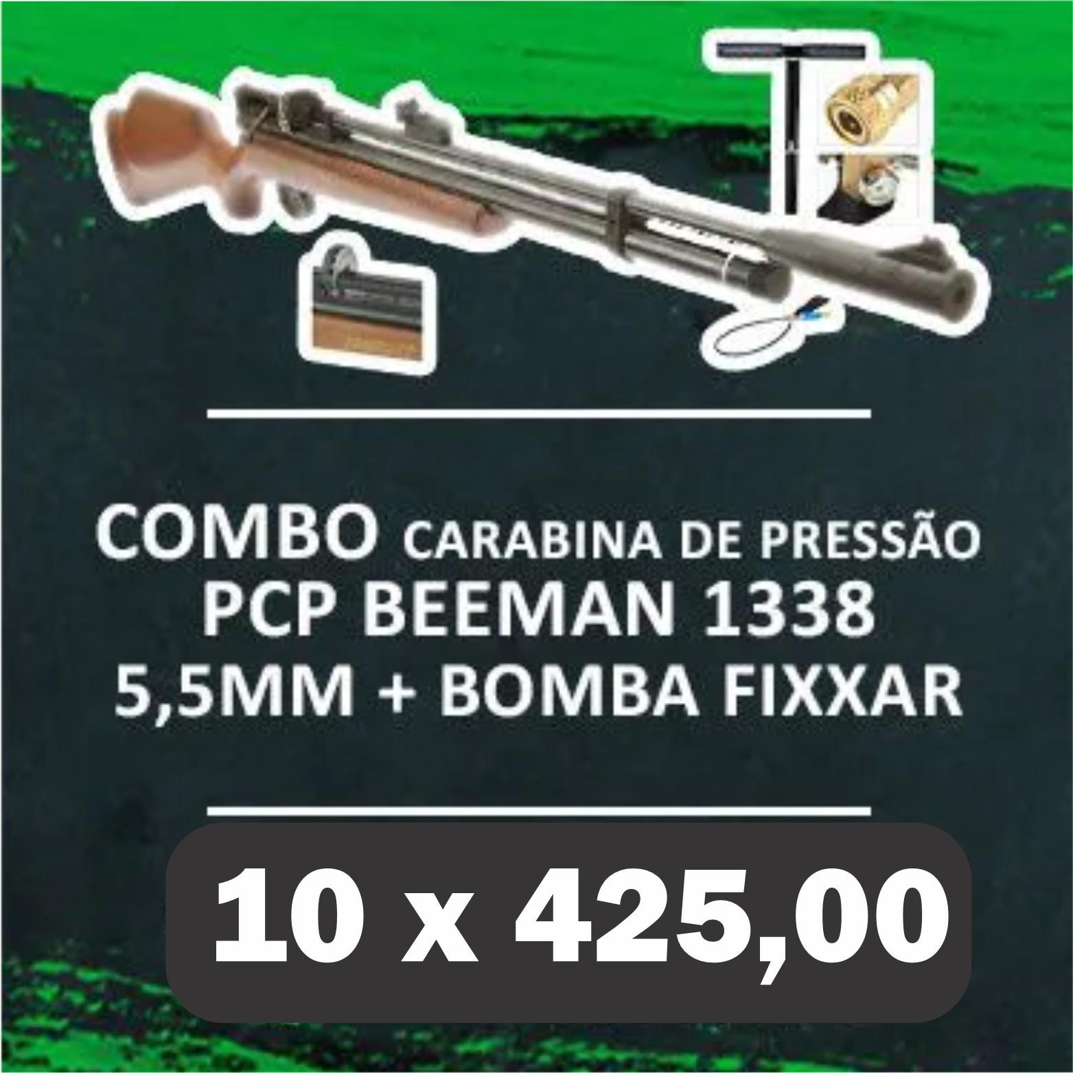 Consórcio - Carabina PCP Beeman 1338  QB II PLUS 10 tiros 5,5mm 1+ Bomba ROSSI