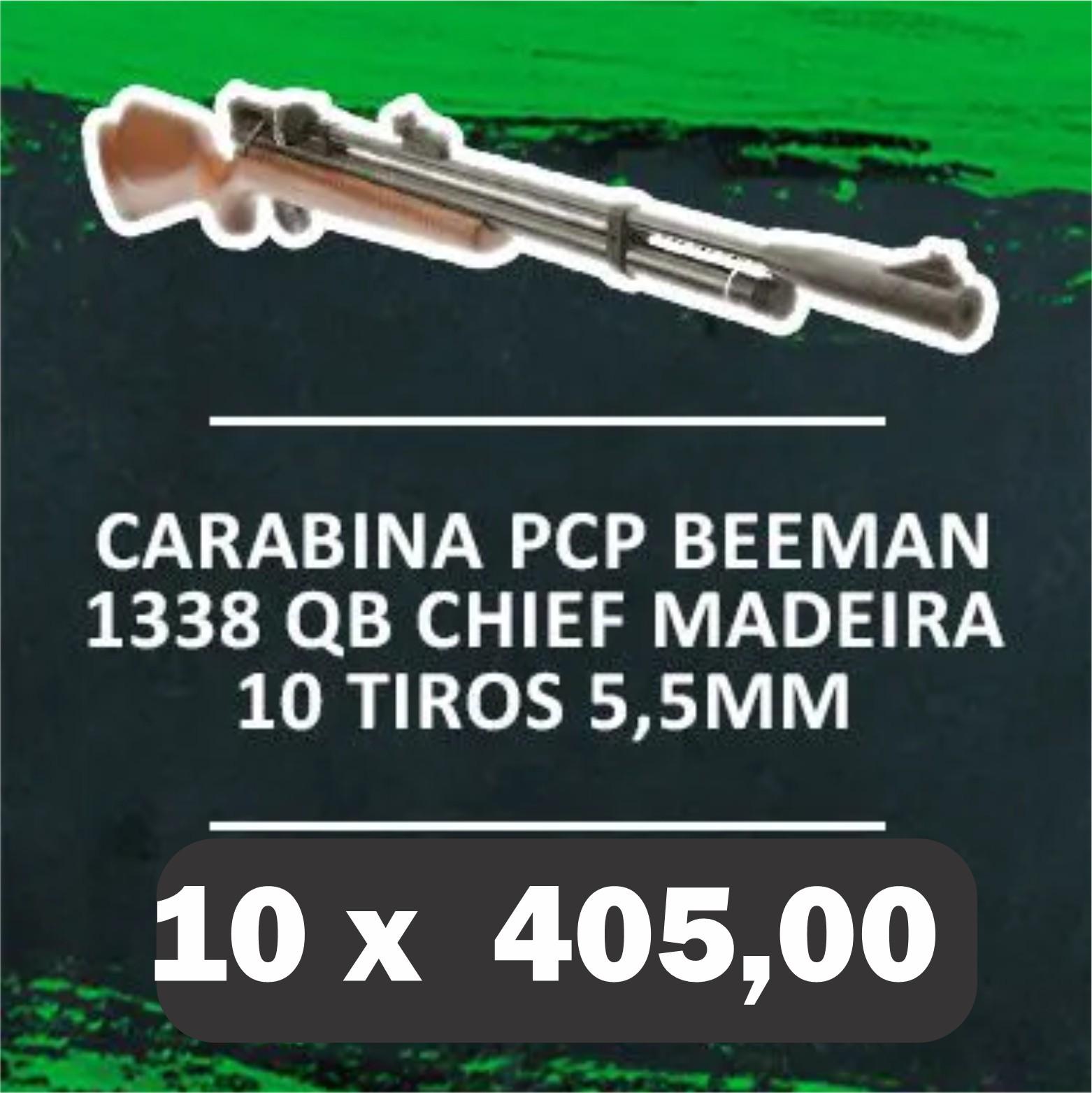 Consórcio - Carabina PCP Beeman 1338 QB II PLUS Chief madeira 10 tiros 5,5mm