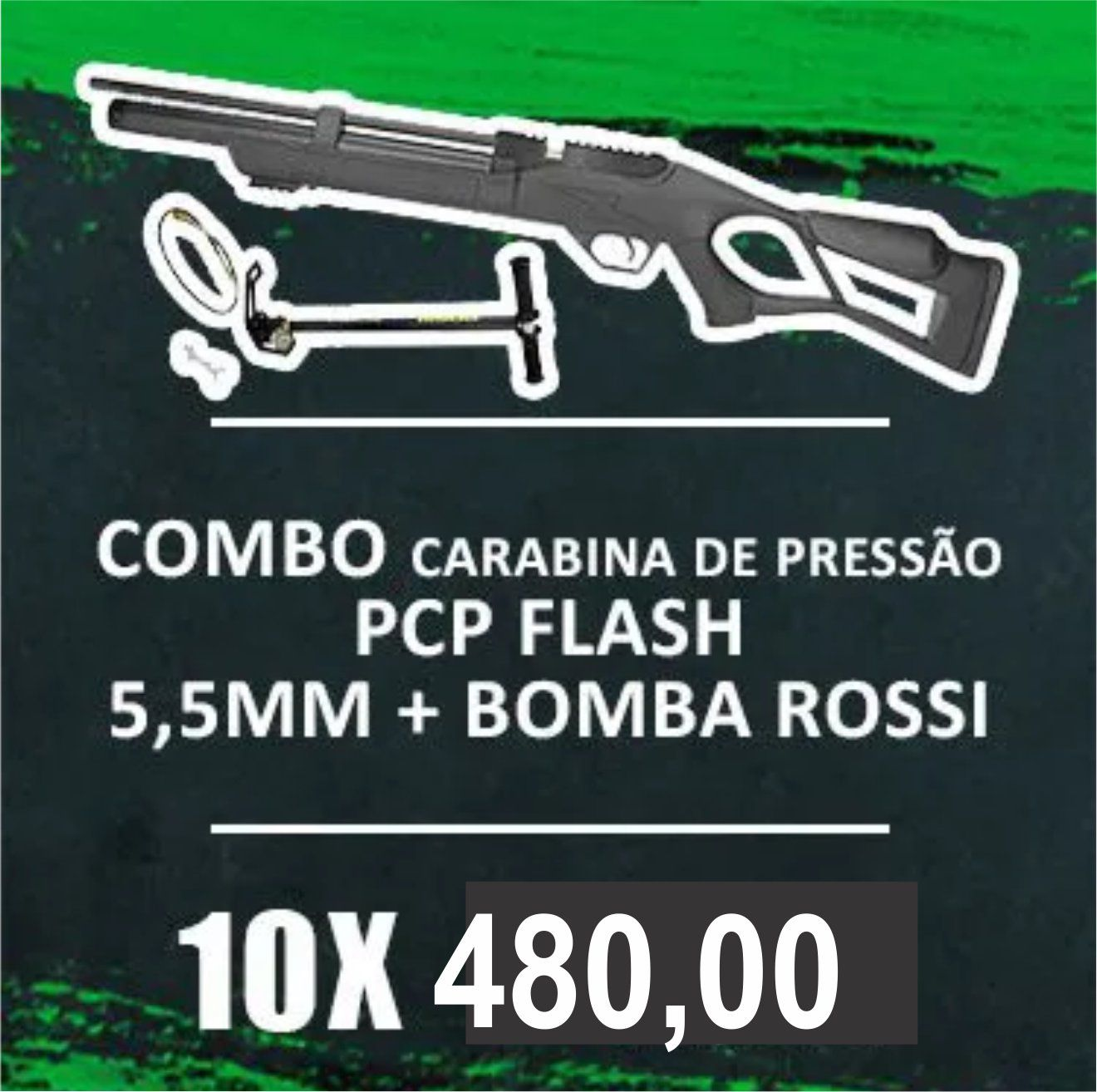 Consórcio - CARABINA PCP FLASH 5,5mm + Bomba Rossi
