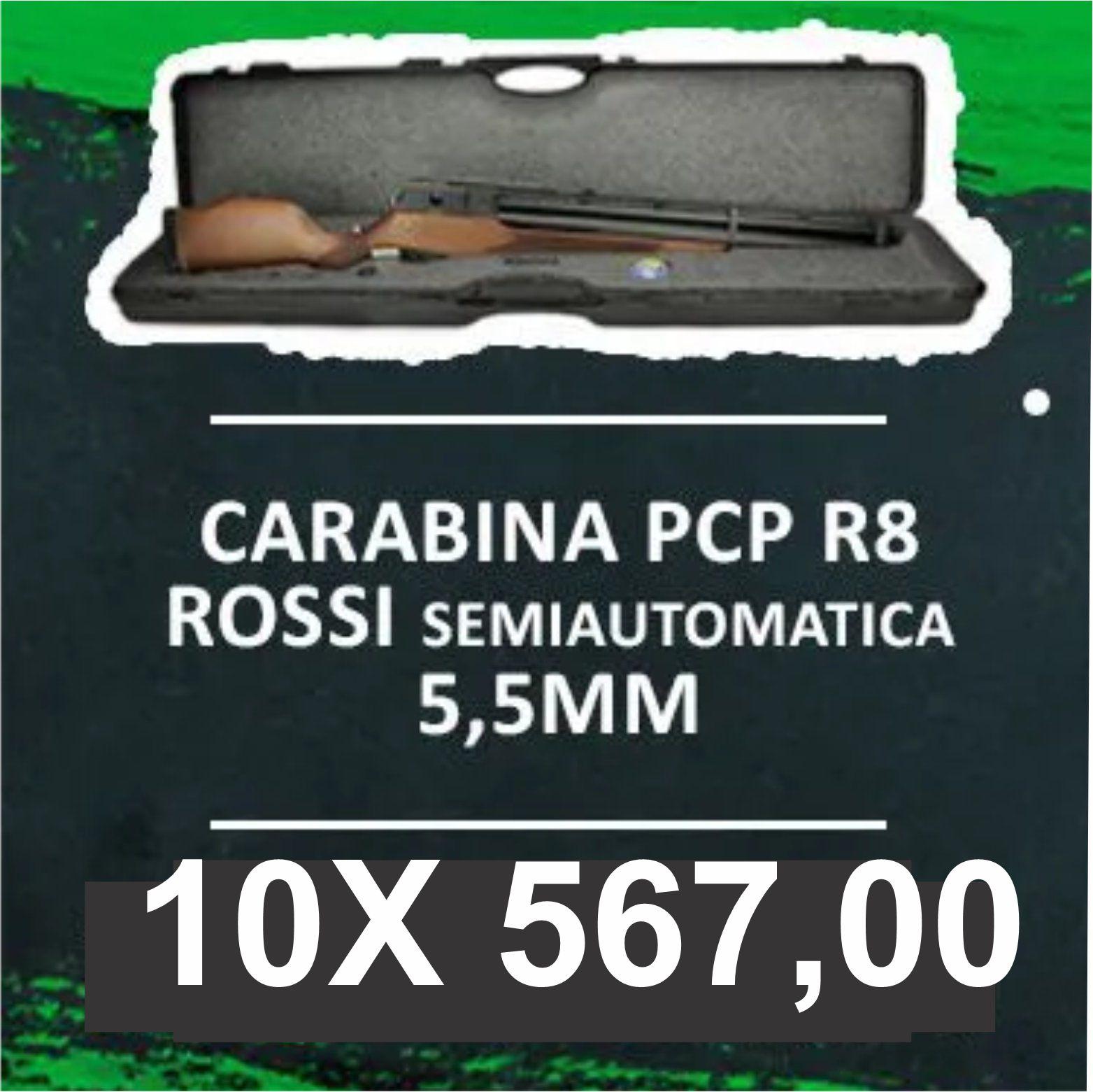 Consórcio - Carabina PCP R8 Rossi Semiautomatica 5,5mm Coronha Recartilhada 10x