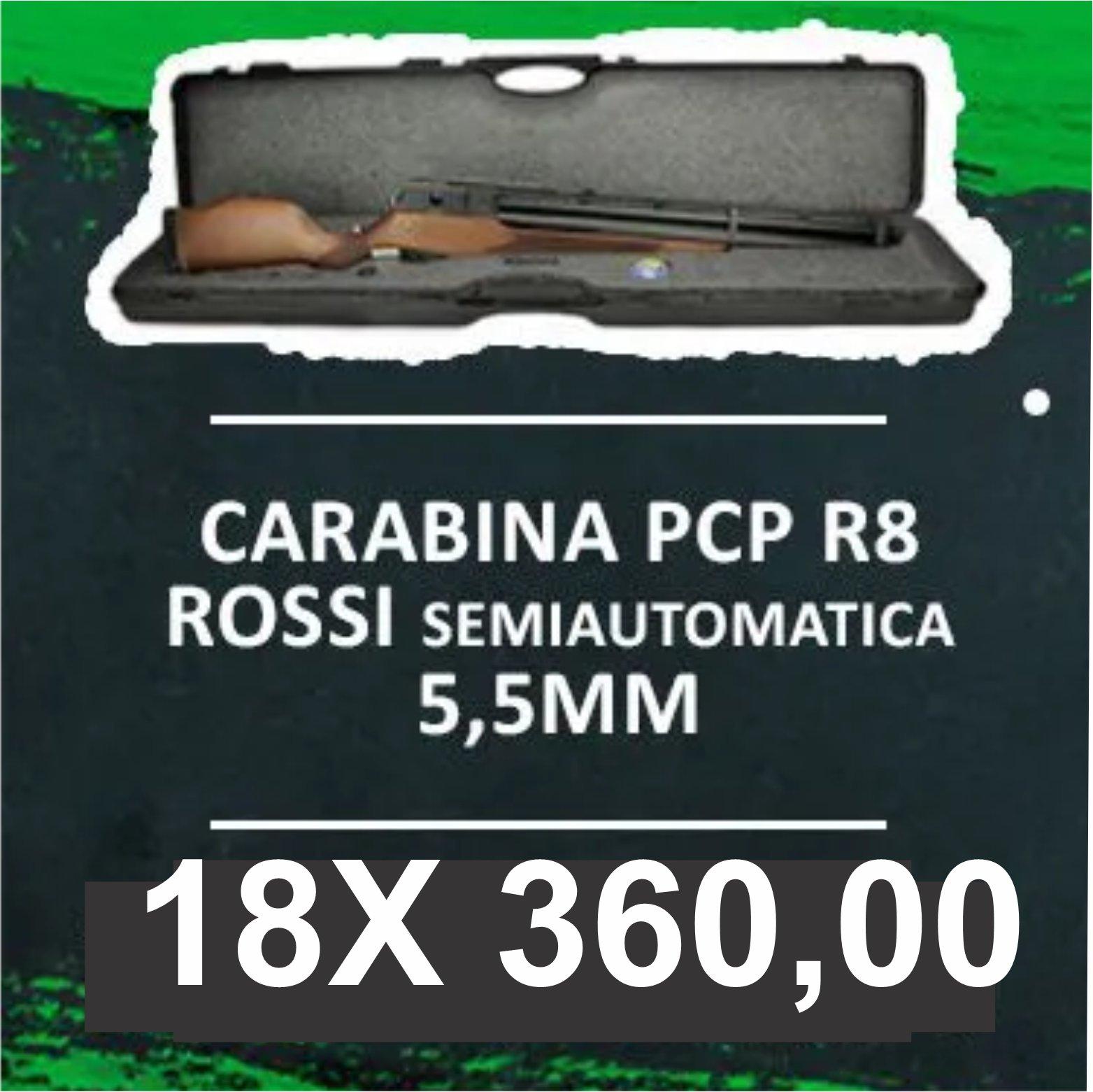 Consórcio - Carabina PCP R8 Rossi Semiautomatica 5,5mm Coronha Recartilhada 18x
