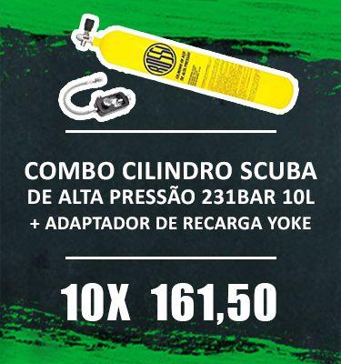 Consórcio - Cilindro Scuba de Alta Pressão 231BAR 10L Completo com Adaptador de Recarga Yoke]
