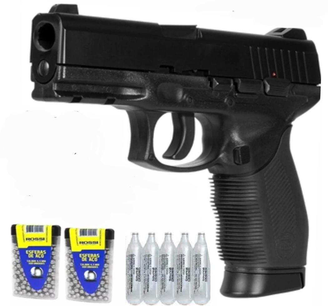 Pistola 24/7 com 5  CO2 e 600 esferas 4,5mm