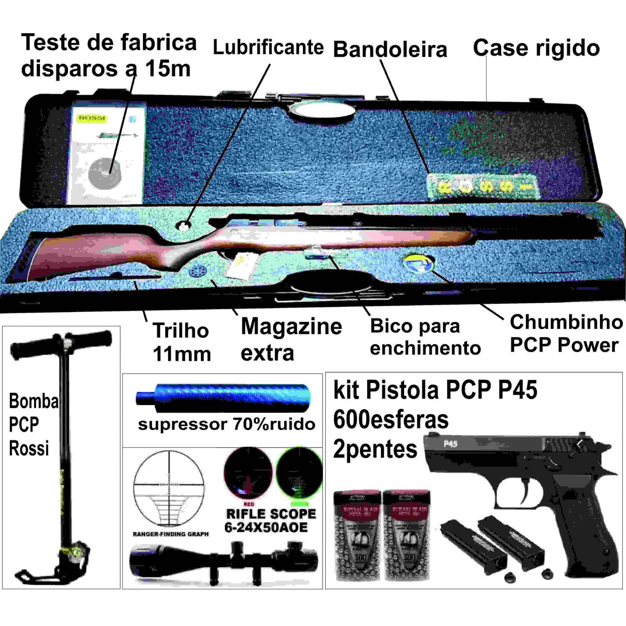 Kit completo Carabina PCP R8 Rossi Semiautomatica 5,5mm