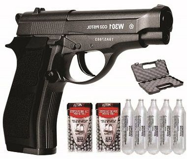 Kit Pistola de Pressão Co2 Wingun W301 4,5mm Full Metal